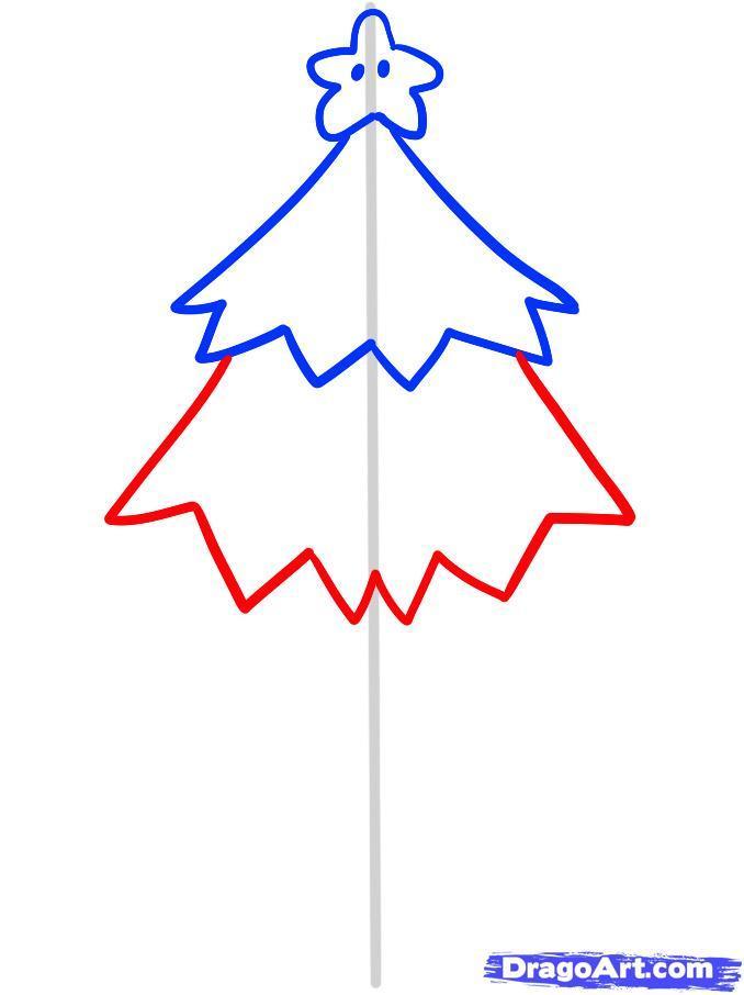 Как просто нарисовать новогоднюю елку - шаг 4