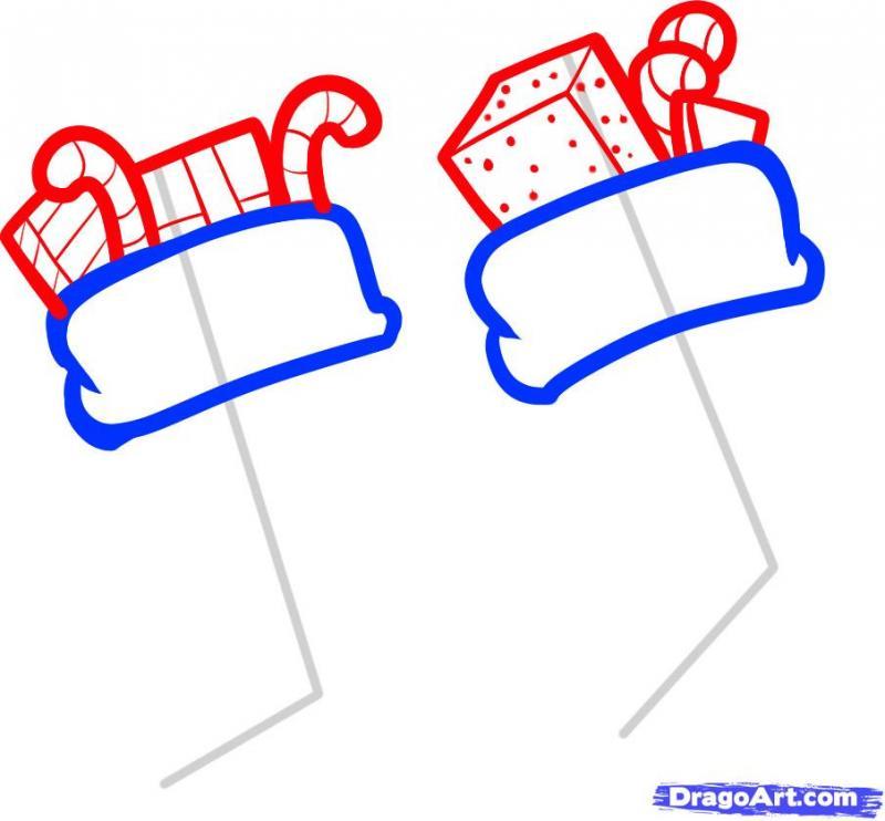 Рисуем новогодние носки для подарков карандашами - шаг 3