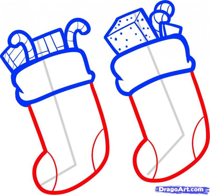 Рисуем новогодние носки для подарков карандашами - шаг 4