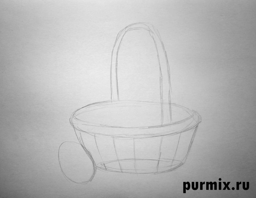 Рисуем корзину пасхальных яиц простым - шаг 1