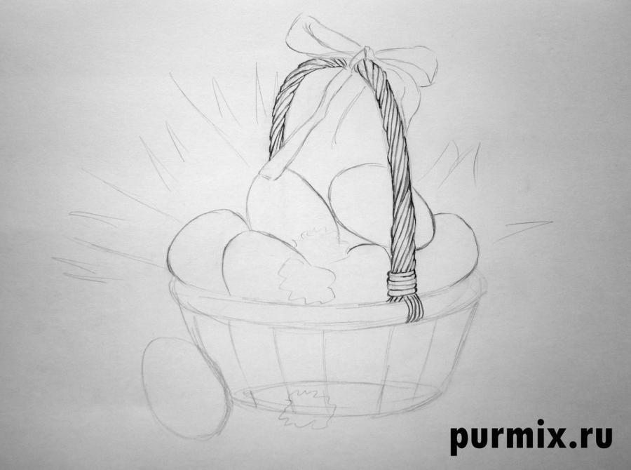 Рисуем корзину пасхальных яиц простым - шаг 2