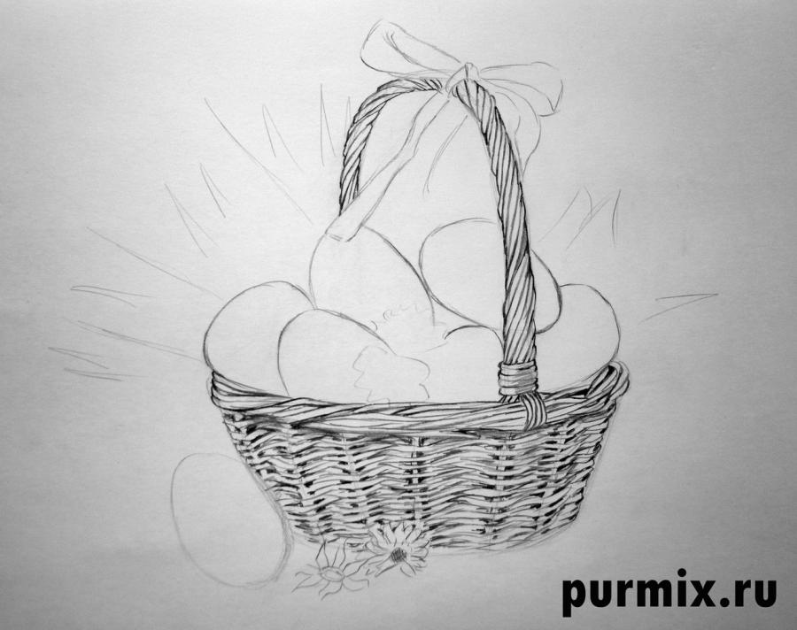 Рисуем корзину пасхальных яиц простым - шаг 3