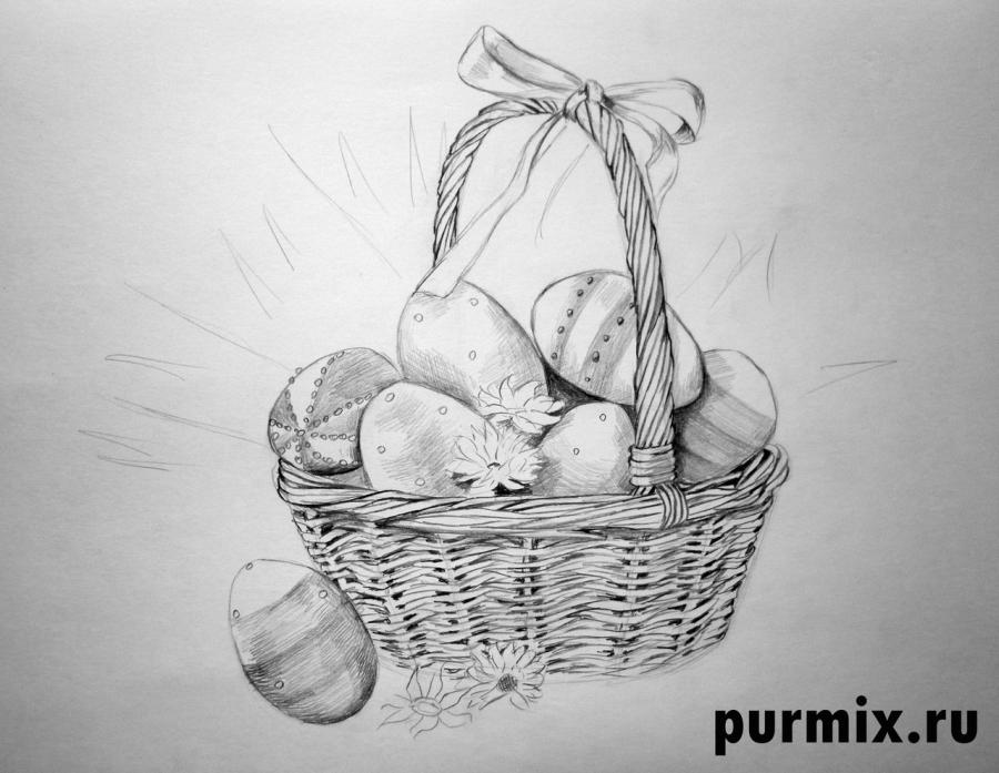 Рисуем корзину пасхальных яиц простым - шаг 4