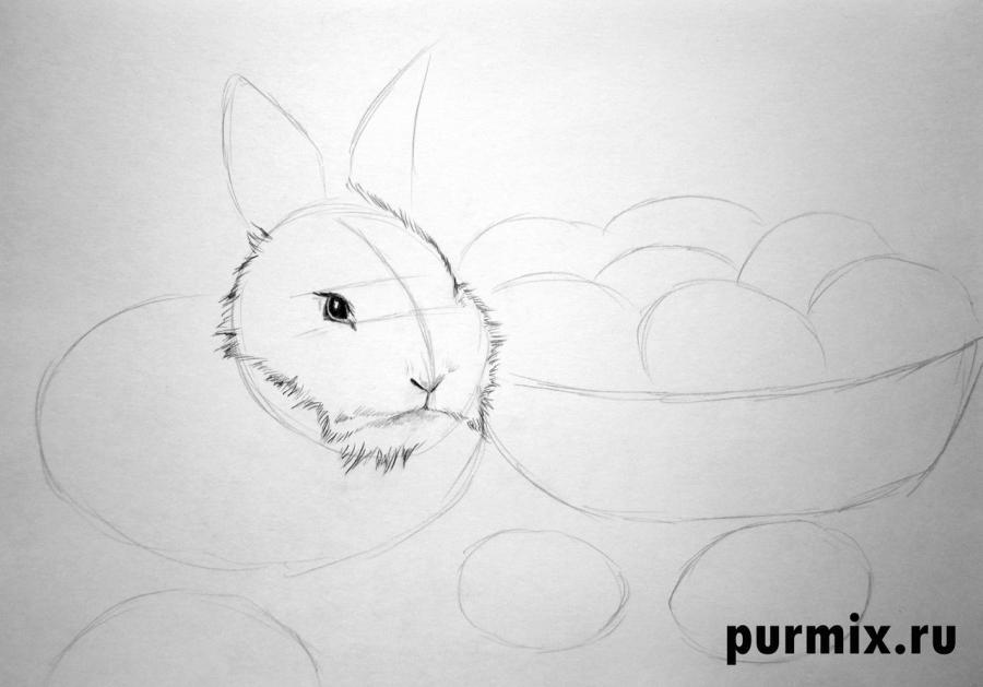 Рисуем кролика и корзину яиц - шаг 2