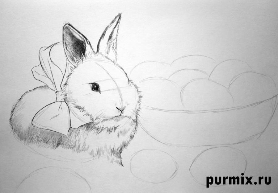 Рисуем кролика и корзину яиц - шаг 4