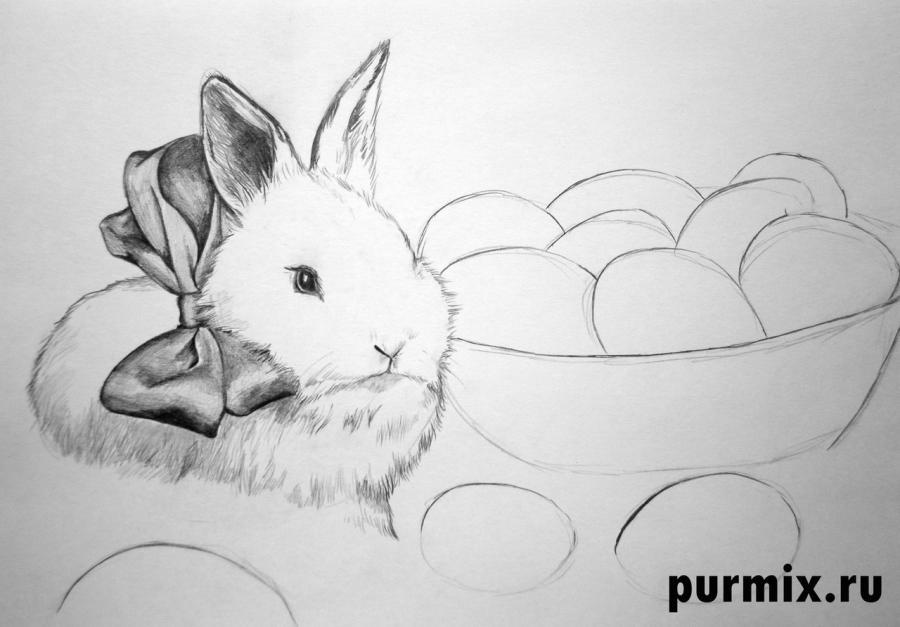 Рисуем кролика и корзину яиц - шаг 5