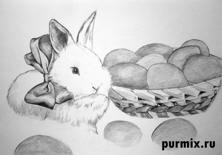 Рисуем кролика и корзину яиц - шаг 6