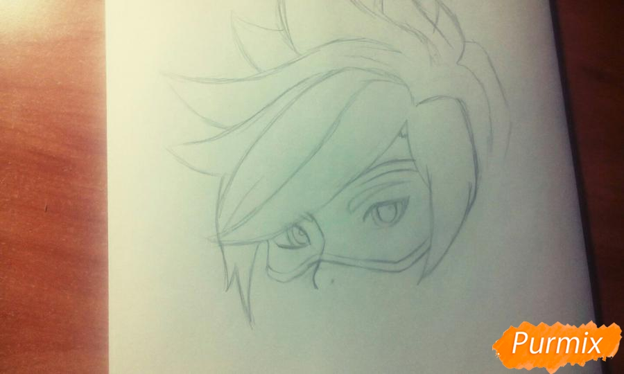 Рисуем персонажа Tracer из игры Overwatch карандашами - шаг 3