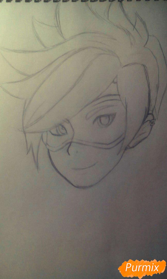 Рисуем персонажа Tracer из игры Overwatch карандашами - шаг 4