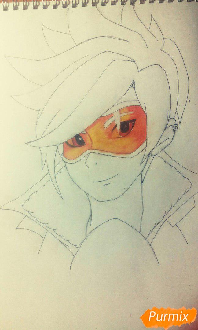 Рисуем персонажа Tracer из игры Overwatch карандашами - шаг 5