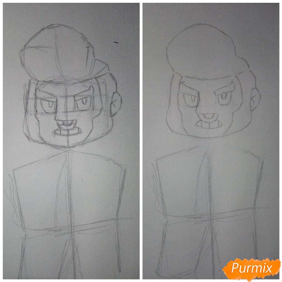 Рисуем Булла из Бравл Старс - шаг 3