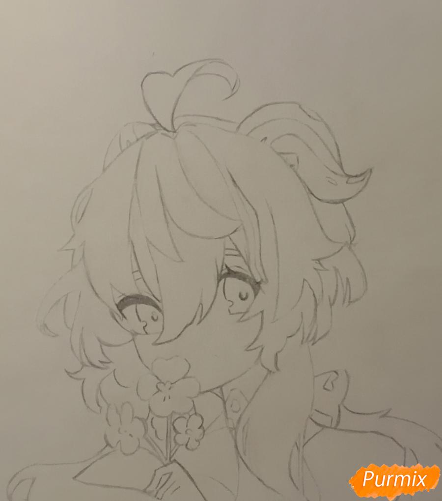 Рисуем Гань Юй из игры Genshin Impact карандашами - шаг 3