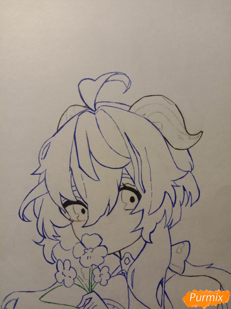 Рисуем Гань Юй из игры Genshin Impact карандашами - шаг 4