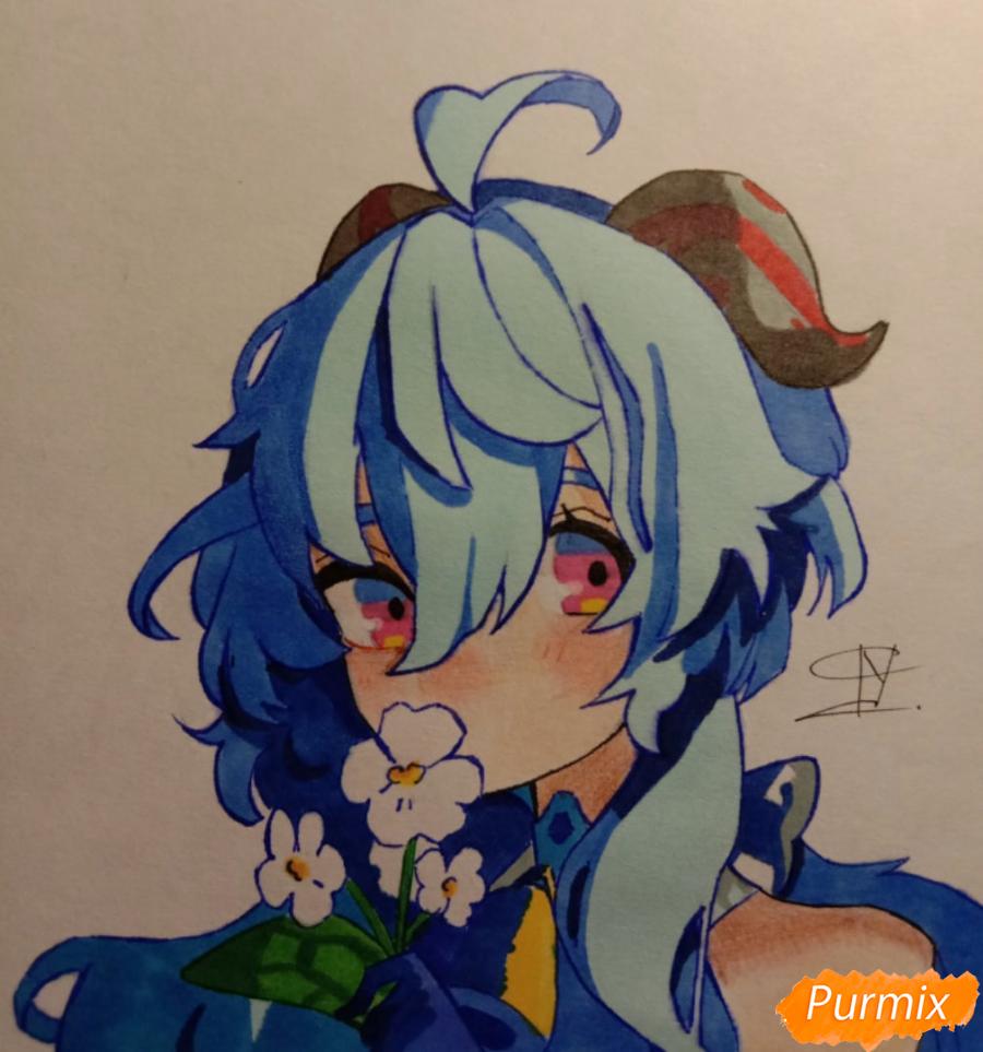 Как нарисовать Гань Юй из игры Genshin Impact карандашами поэтапно