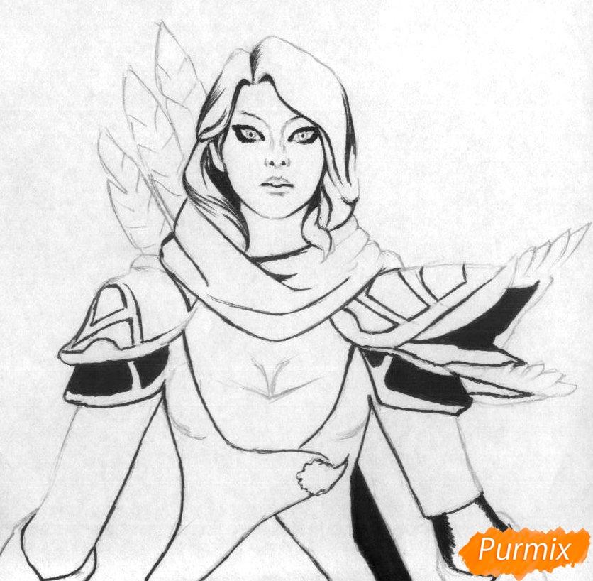 Рисуем героя Windranger из игры Dota 2 - шаг 2