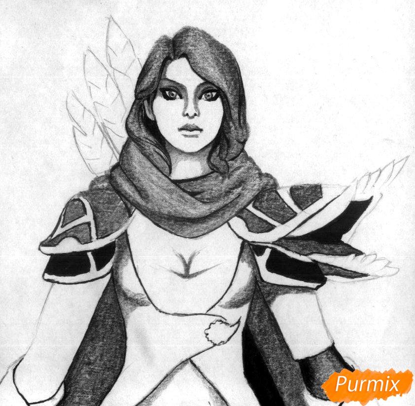 Рисуем героя Windranger из игры Dota 2 - шаг 3