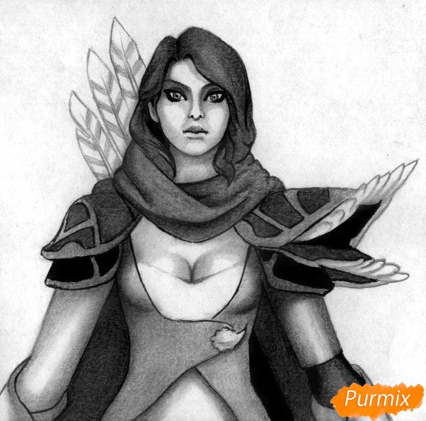 Рисуем героя Windranger из игры Dota 2 - шаг 5
