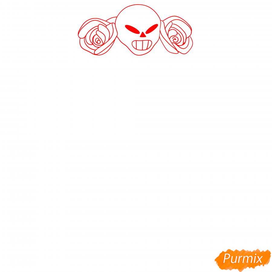 Рисуем хэллоуинскую Розу - шаг 1