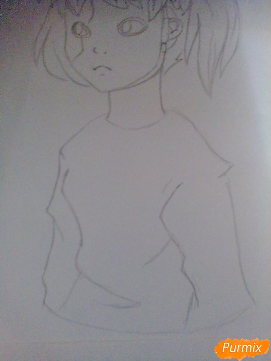 Рисуем и раскрасить Салли Фишера с венком на голове карандашами - шаг 5