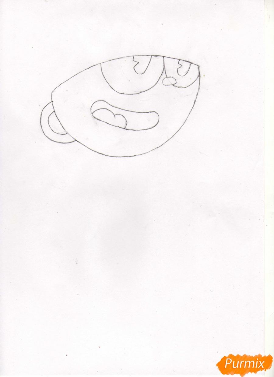 Рисуем персонажа Капхеда из игры Капхед - шаг 2