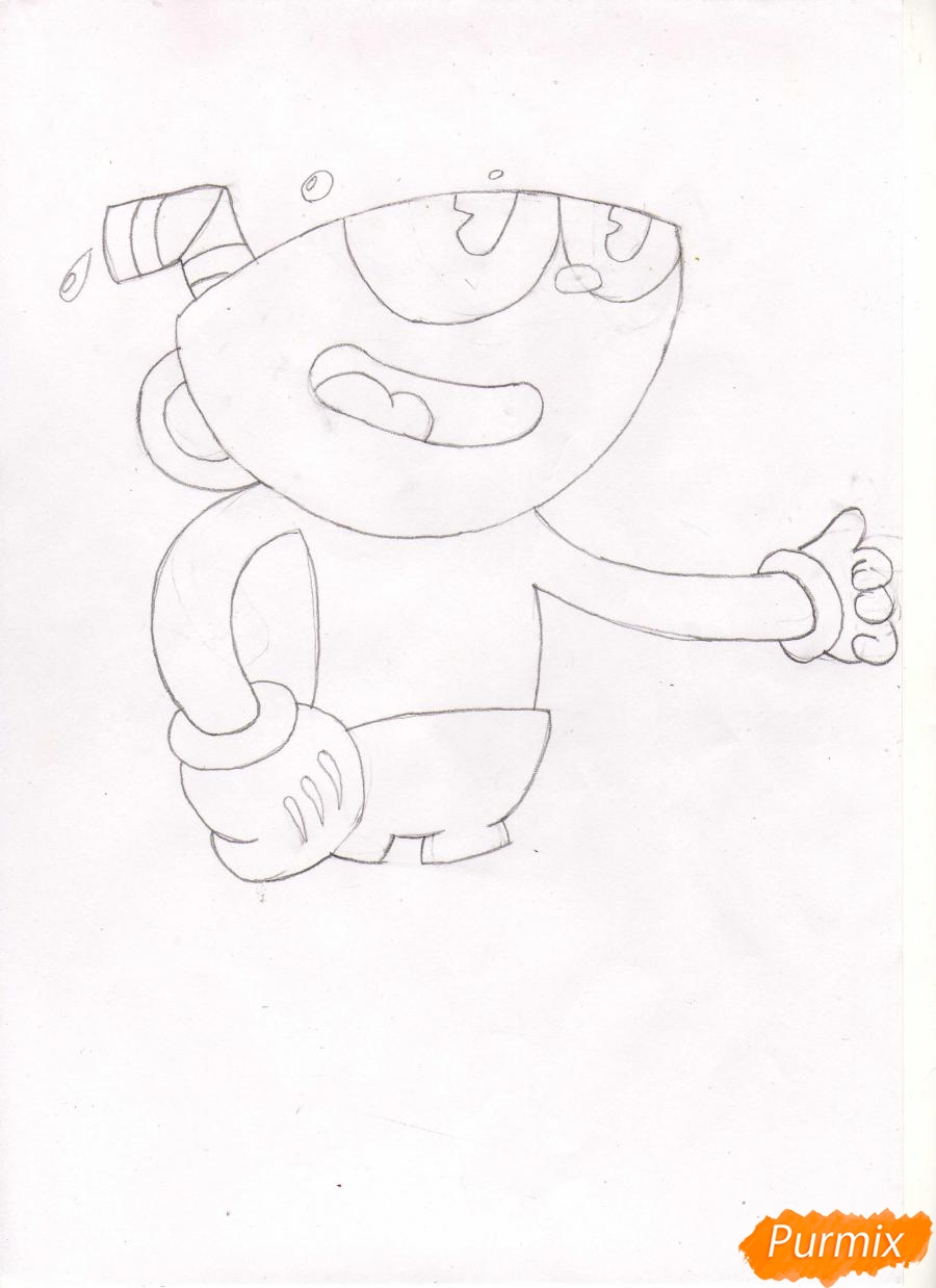 Рисуем персонажа Капхеда из игры Капхед - шаг 3