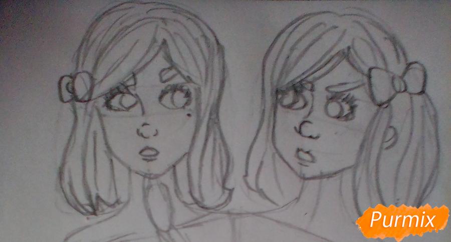 Рисуем сиамских близнецов Клару и Мию Бухальмет из игры Френ Боу - шаг 3