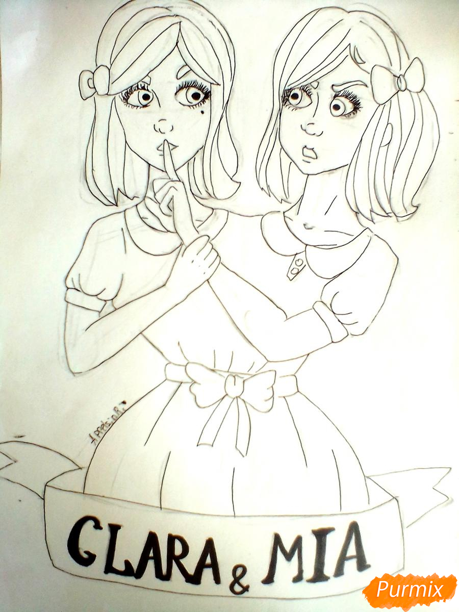 Рисуем сиамских близнецов Клару и Мию Бухальмет из игры Френ Боу - шаг 6
