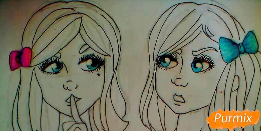 Рисуем сиамских близнецов Клару и Мию Бухальмет из игры Френ Боу - шаг 7