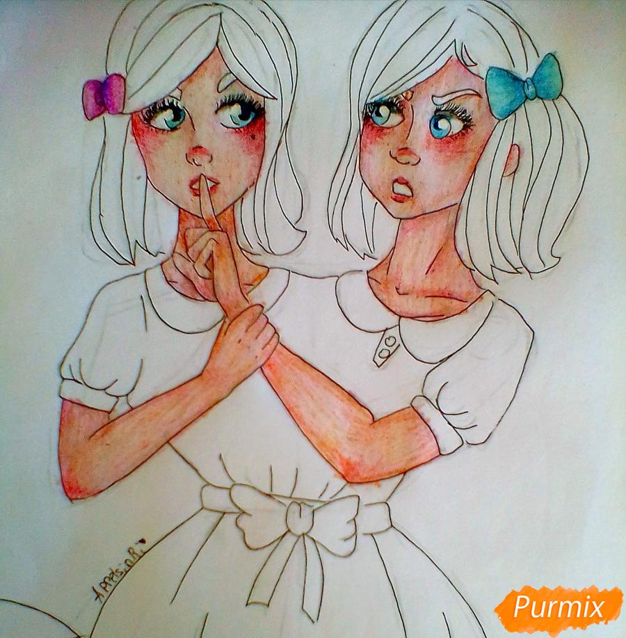 Рисуем сиамских близнецов Клару и Мию Бухальмет из игры Френ Боу - шаг 8