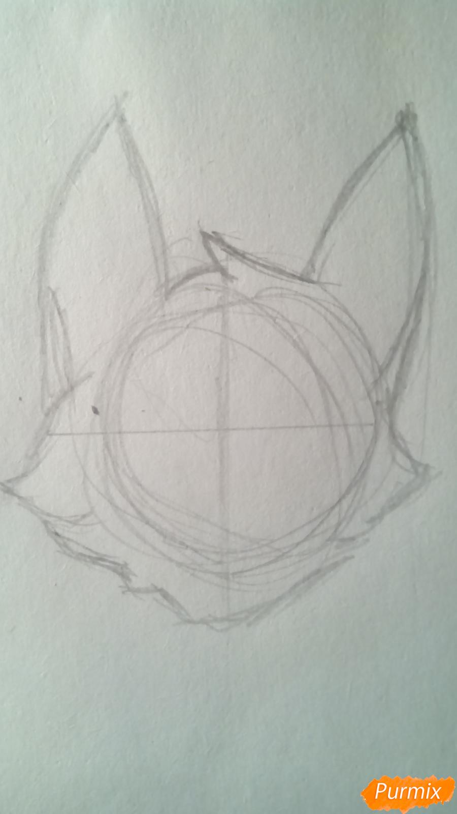 Рисуем кота Мистера Полночь из игры Фрэн Боу карандашами - шаг 1