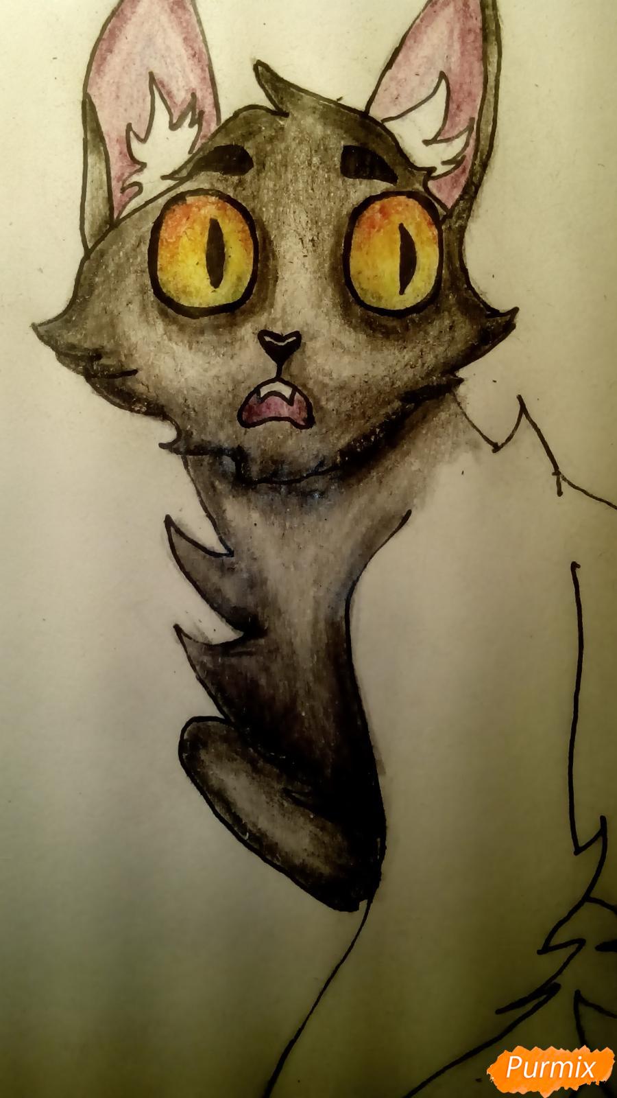 Рисуем кота Мистера Полночь из игры Фрэн Боу карандашами - шаг 10
