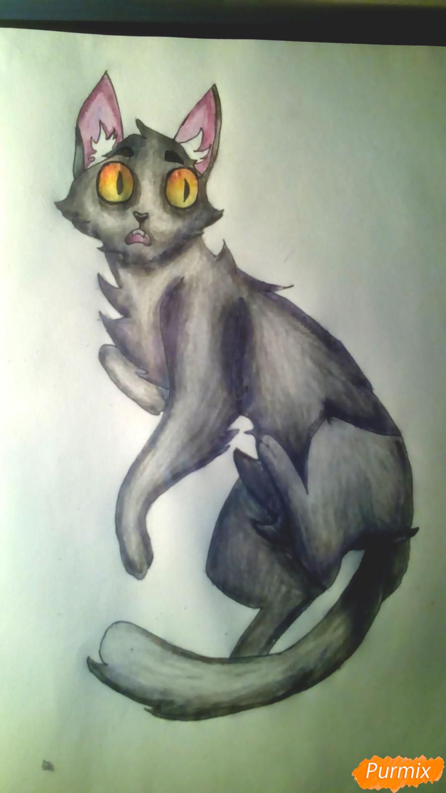 Рисуем кота Мистера Полночь из игры Фрэн Боу карандашами - шаг 11