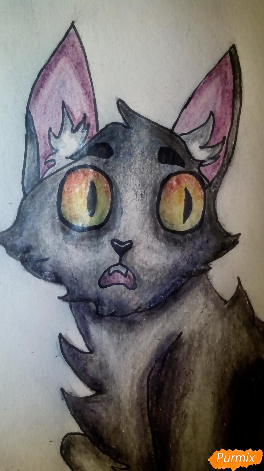 Рисуем кота Мистера Полночь из игры Фрэн Боу карандашами - шаг 12