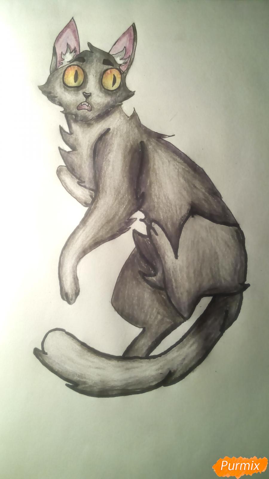 Рисуем кота Мистера Полночь из игры Фрэн Боу карандашами - шаг 13