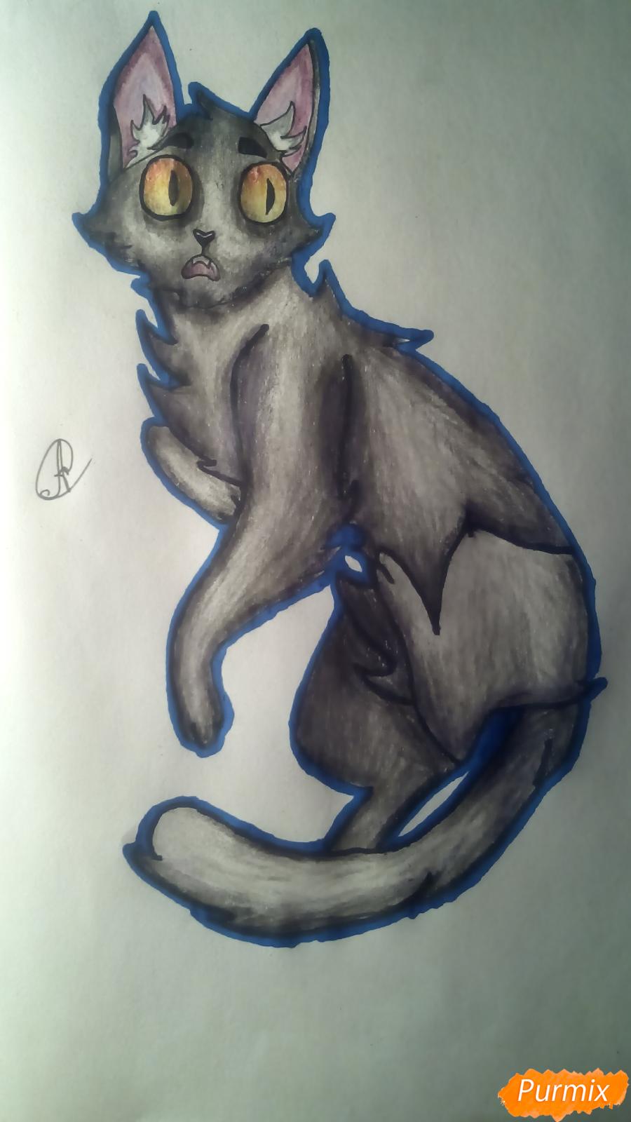 Рисуем кота Мистера Полночь из игры Фрэн Боу карандашами - шаг 14