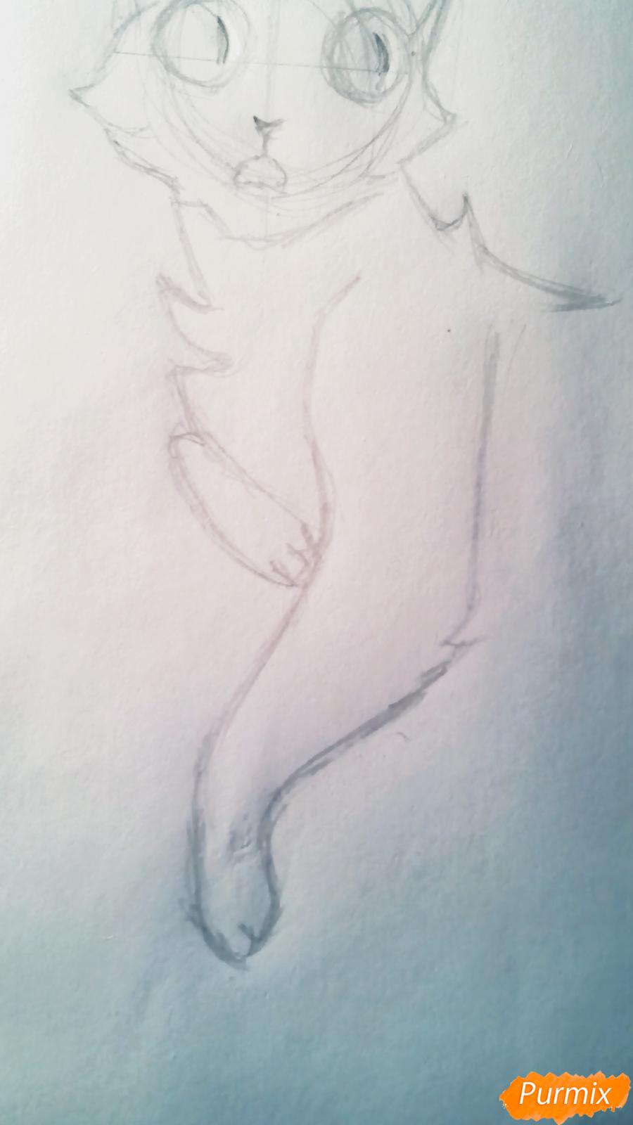Рисуем кота Мистера Полночь из игры Фрэн Боу карандашами - шаг 3