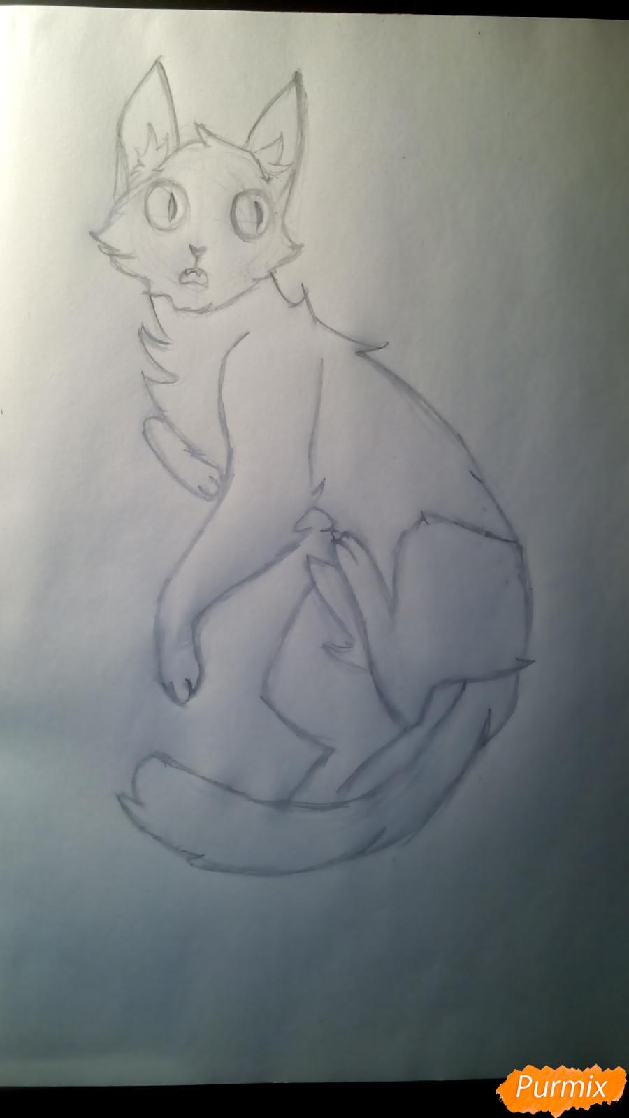 Рисуем кота Мистера Полночь из игры Фрэн Боу карандашами - шаг 5
