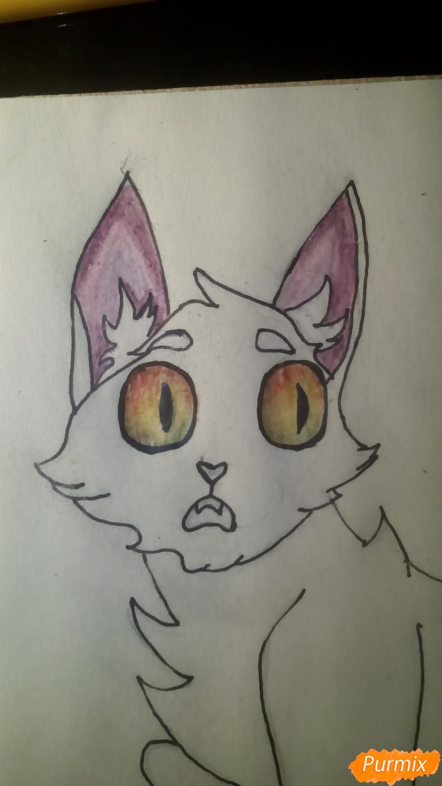 Рисуем кота Мистера Полночь из игры Фрэн Боу карандашами - шаг 8