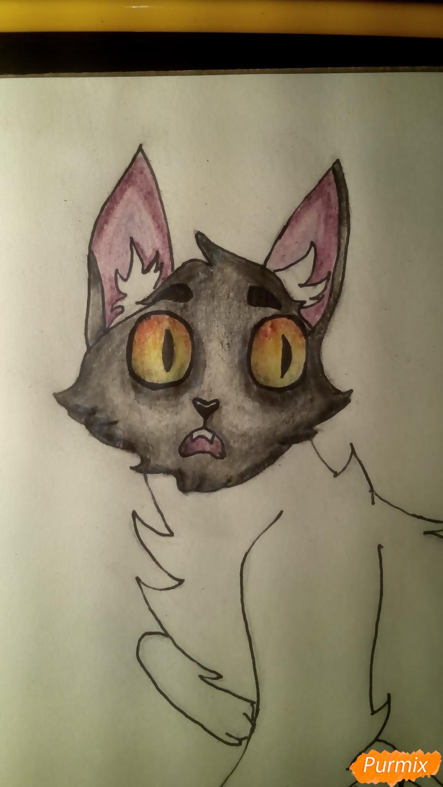 Рисуем кота Мистера Полночь из игры Фрэн Боу карандашами - шаг 9