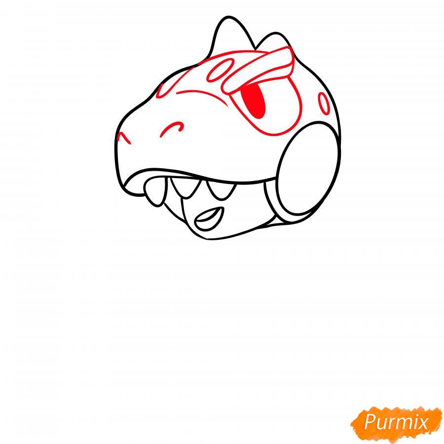Рисуем Леона динозавра - шаг 3
