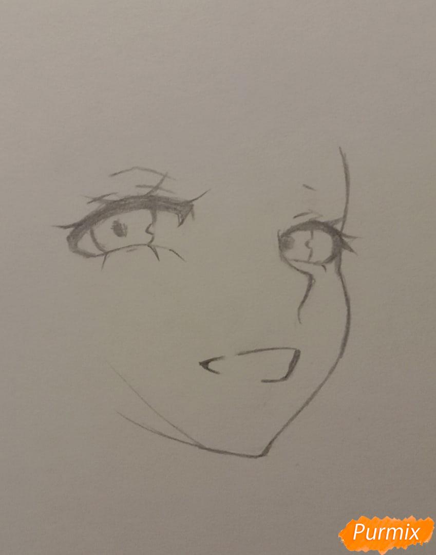 Рисуем Люмин из игры Genshin Impact карандашами - шаг 2