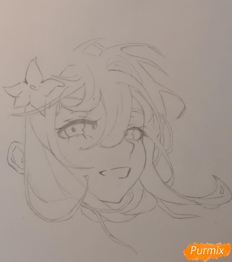 Рисуем Люмин из игры Genshin Impact карандашами - шаг 3