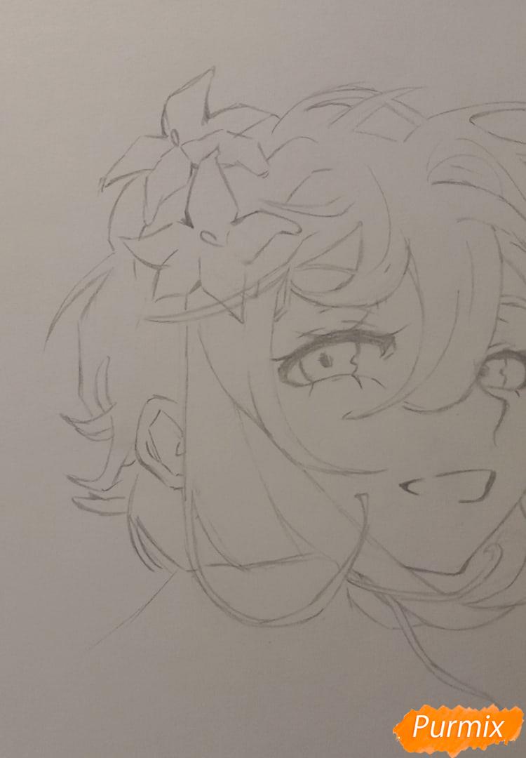 Рисуем Люмин из игры Genshin Impact карандашами - шаг 4