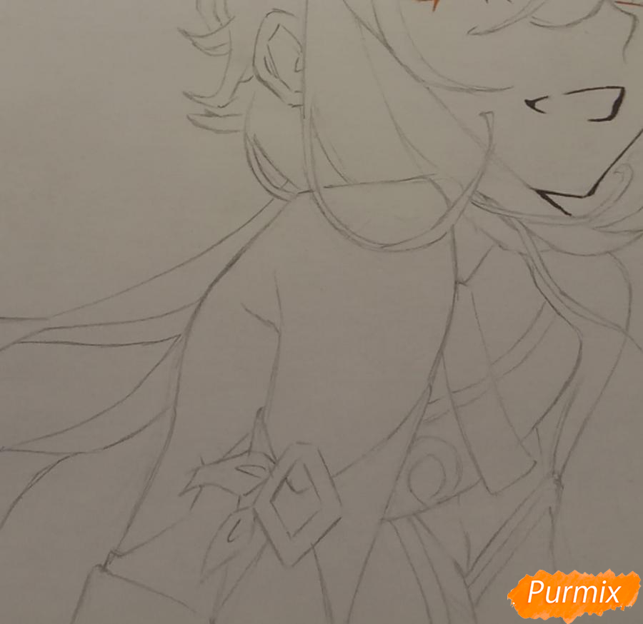 Рисуем Люмин из игры Genshin Impact карандашами - шаг 5