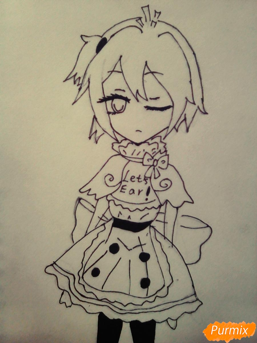 Рисуем  милую Чику девочку - шаг 6