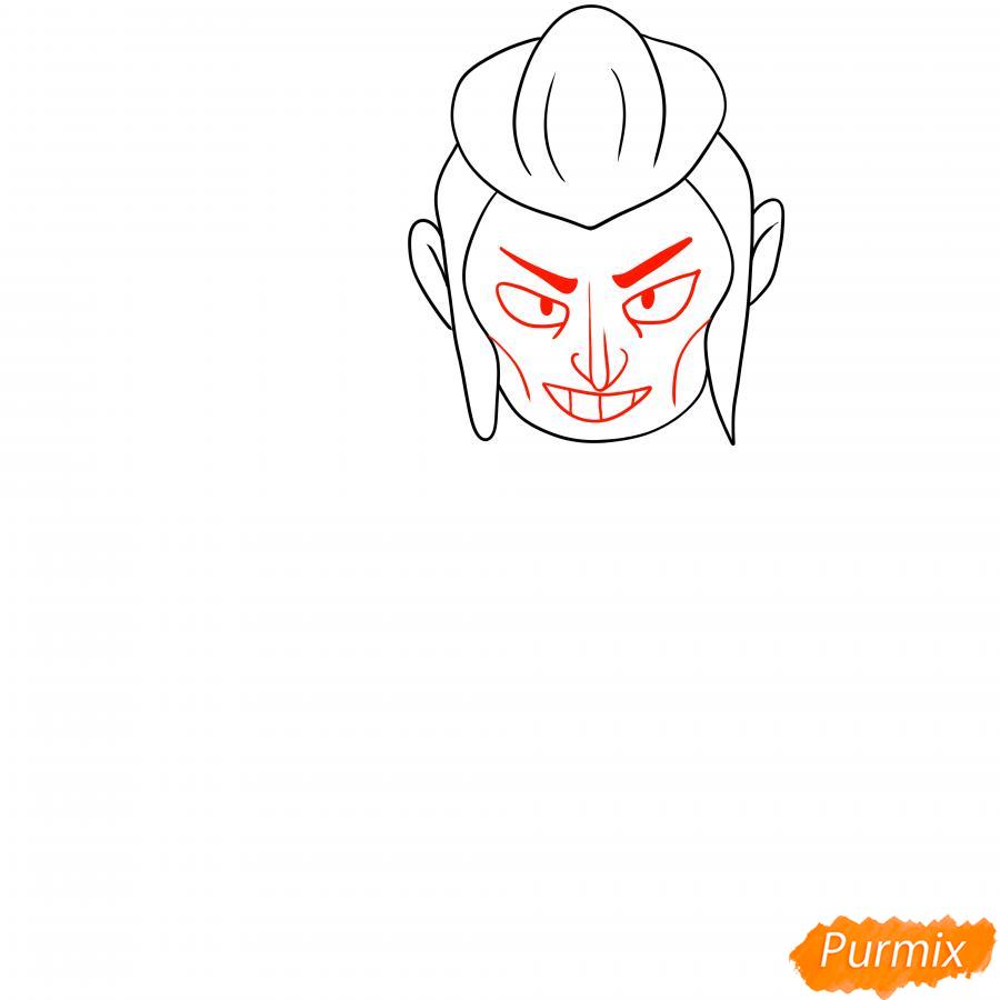 Рисуем Мортиса из Бравл Старс карандашами - шаг 3