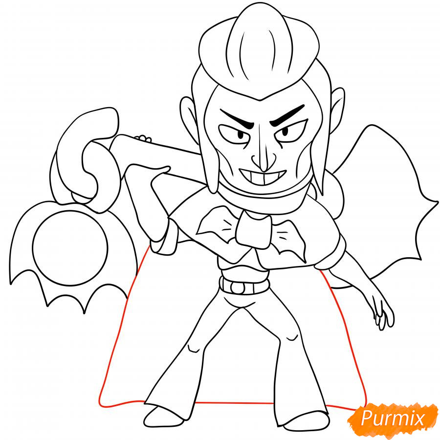 Рисуем Мортиса из Бравл Старс карандашами - шаг 7