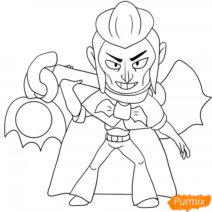 Рисуем Мортиса из Бравл Старс карандашами - шаг 8