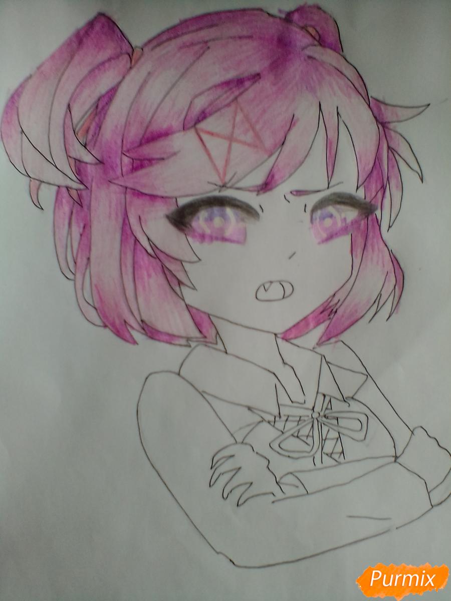 Рисуем портрет Нацуки из игры Doki Doki Literature Club - шаг 6