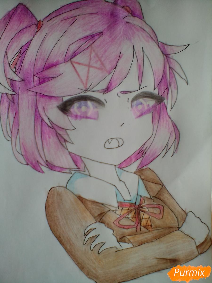 Рисуем портрет Нацуки из игры Doki Doki Literature Club - шаг 7